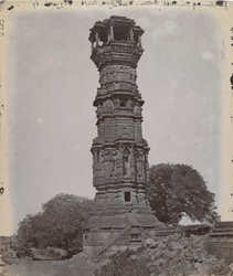 General view from the south of the Kirthi Stambh or Jain Tower of Fame, Chittaurgarh [Chitorgarh]